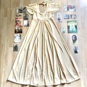 Vintage flutter sleeve empire waist maxi dress